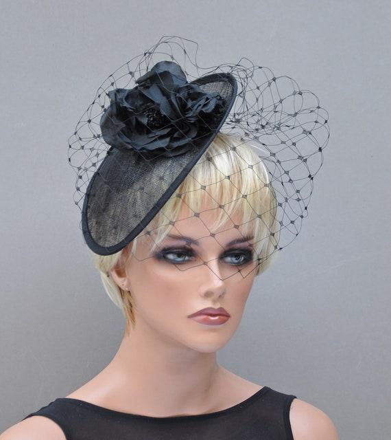 Ladies Black Hat, Formal hat, Dressy Hat, Black Fascinator hat, Funeral Hat, Saucer Hat, Cocktail Hat