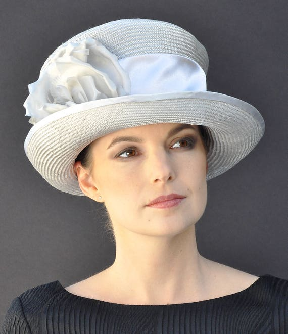 Kentucky Derby Hat, Wedding Hat, Ascot Hat, Church Hat, Formal Hat, Gray taupe hat, Occasion Hat, mother of bride hat
