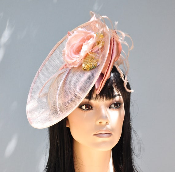 Women's Peach Hat, Wedding Hat, Kate Middleton Hat, Melbourne Cup Hat, Formal Hat, Saucer Hat, Dressy Hat, Special Occasion Hat