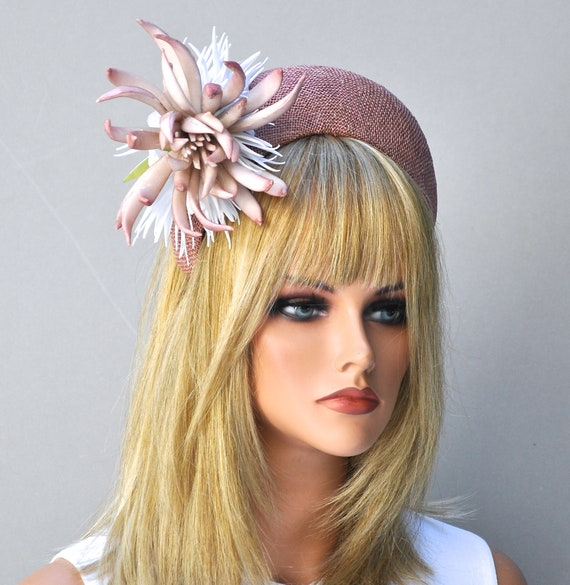 Wedding Hat, Kate Middleton Hat, Crown Headband Halo Headpiece, Pink Fascinator Hat, Ladies Pink Hat