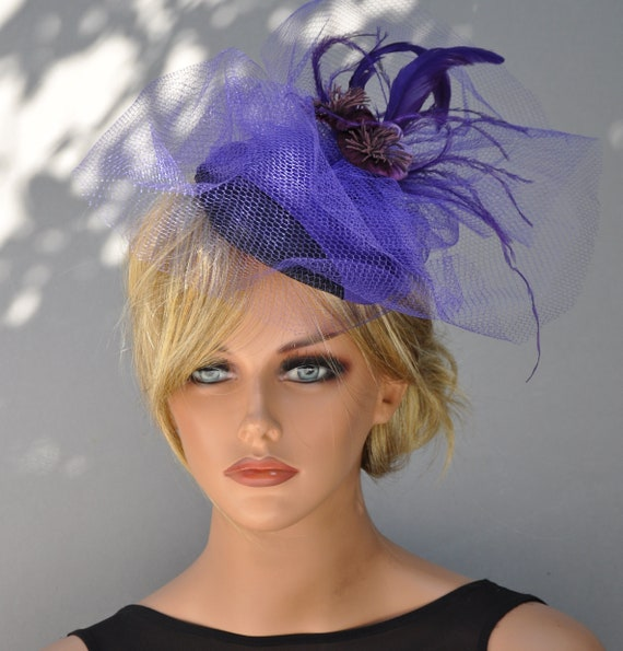 Kentucky Derby Hat, Purple Fascinator, Church Hat, Formal Hat, Wedding Hat, Fascinator Hat