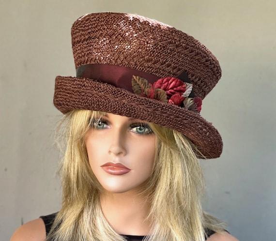 Ladies Brown Hat, Woman's Brown Hat, Brown Royal Ascot Hat, Church Hat, Brown Mad Hatter Top Hat, Women's Formal Hat, Derby Hat