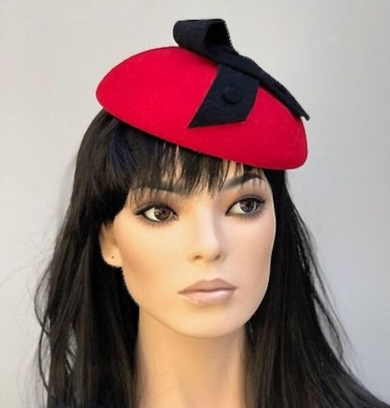 Red Wool Felt Hat. Red Winter Fascinator, Women's Red Winter Hat, Ladies Red Hat, Formal Red Hat
