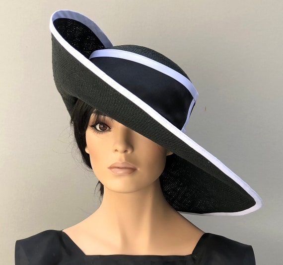 Women's Black Hat, Navy Hat, Kentucky Derby Hat, Ladies Formal Wide Brim Hat, Women's Black and White hat, navy white hat, elegant hat