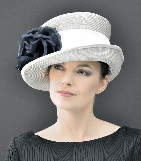 Wedding hat, Ascot hat, occasion hat, church hat, derby hat, formal gray hat, elegant hat