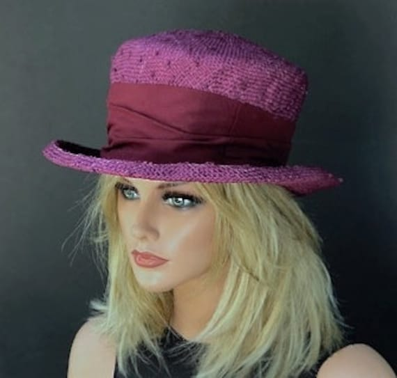 Mad Hatter Top Hat, Tea Party Hat, Ladies Fuchsia Burgundy Hat, Kentucky Derby Hat, Garden Party Hat, Women's formal hat