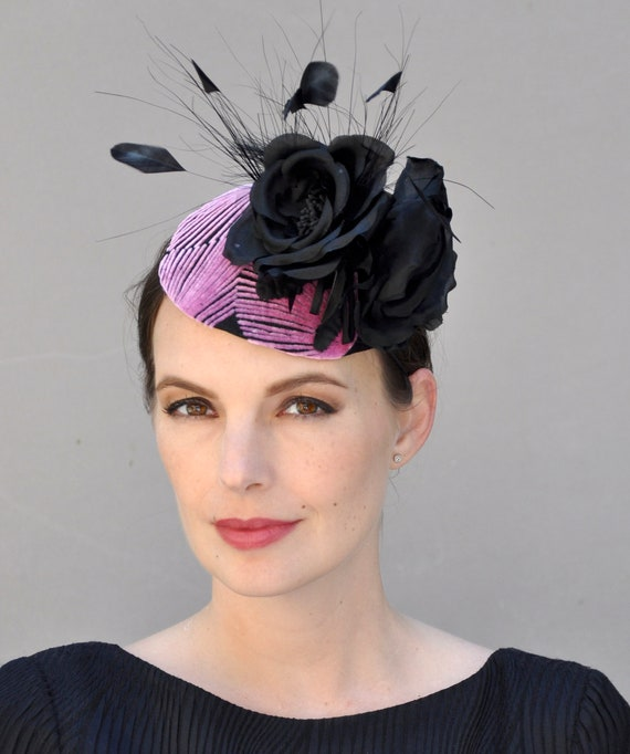 Formal Hat, Black and Pink Fascinator, Cocktail Hat, Pillbox Hat, Wedding Fascinator, Derby Fascinator Hat, Occasion Hat