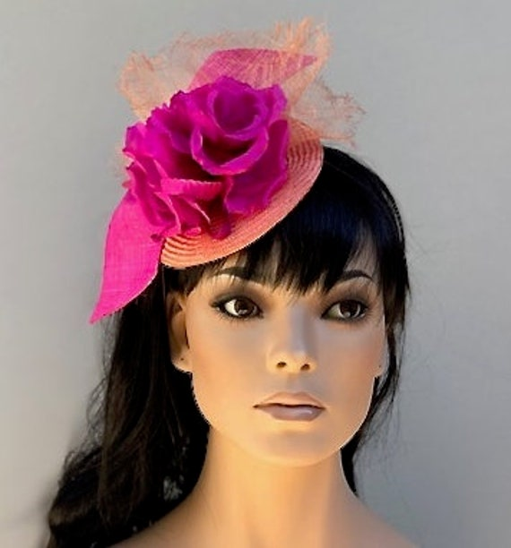 Kentucky Derby Hat, Royal Ascot Hat, Wedding Hat Occasion Hat Race Hat Women's Fascinator Hat Pink Orange Fascinator, Formal Hat, Dressy Hat