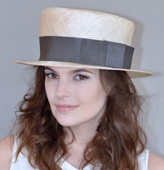 Ladies Straw Boater Hat, Women's Boater Hat, Wedding Hat, Derby Hat