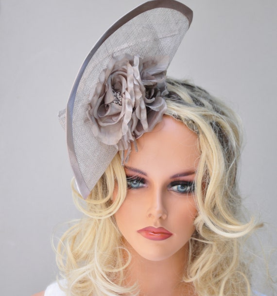 Fascinator Hat, Ladies Taupe Hat, Derby Fascinator, Dressy Hat, Percher, Ascot Hat