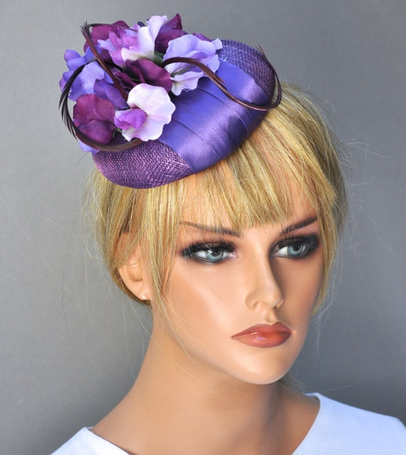 Wedding Hat, Kentucky Derby Hat, Ladies Purple Hat, Women's Formal Hat, Purple Fascinator Hat, Ascot Hat