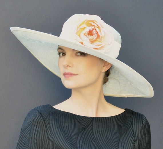 Kentucky Derby Hat, Wide Brim Wedding Hat,  Church Hat, Ladies Wide Brim Hat, Formal Hat, Garden Party Hat, Event hat
