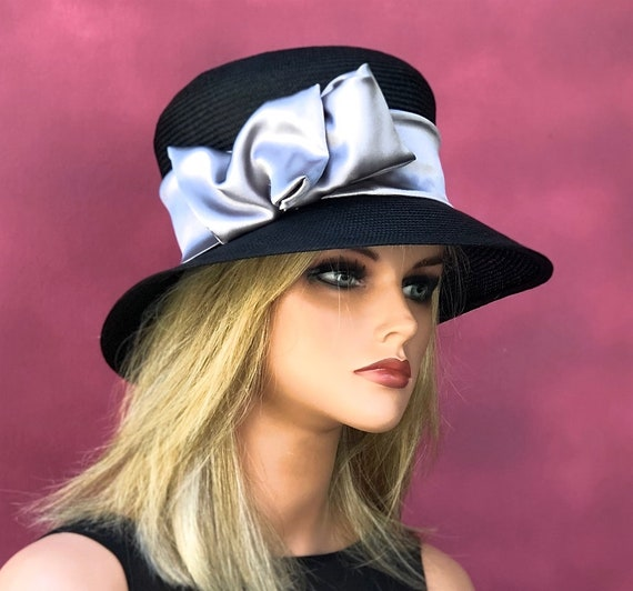 Women's Formal Black Straw Hat, Church Hat, Ladies Black and Gray Hat, Dressy Hat, Derby Hat, Ascot Hat