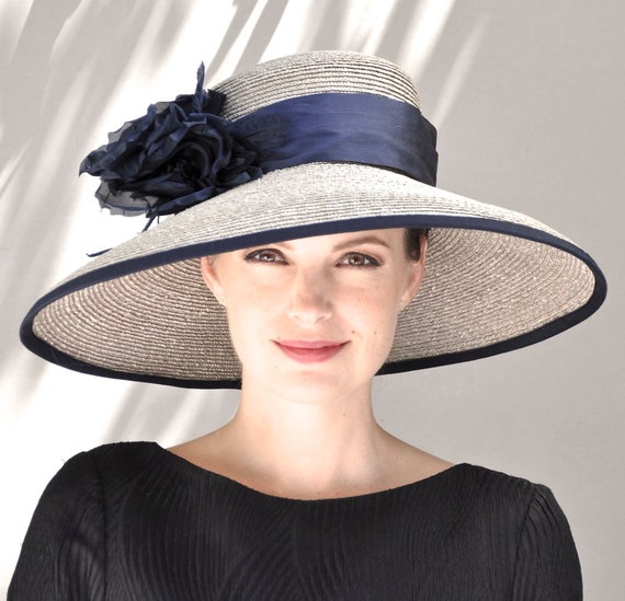 Wedding Hat, Formal hat, Church Hat, Taupe & Black Hat, wide brim hat, Occasion Hat, big hat