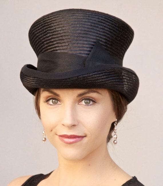 Women's Black Top Hat, Formal Hat, Downton Abbey hat, Derby hat, Mad Hatter, Elegant Black hat, Black Steampunk hat, funeral hat