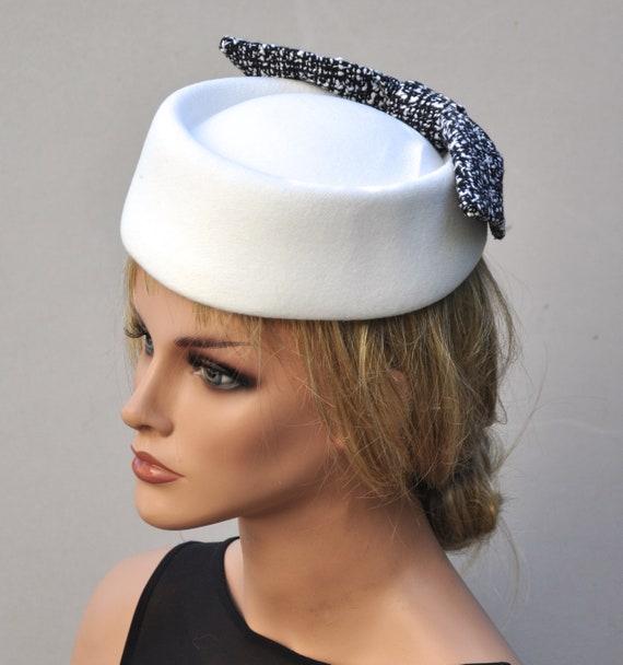 Ladies White Pillbox Hat, Formal Winter Hat, Ladies White Winter Hat,  Church Hat, Black and White Hat, Occasion Hat