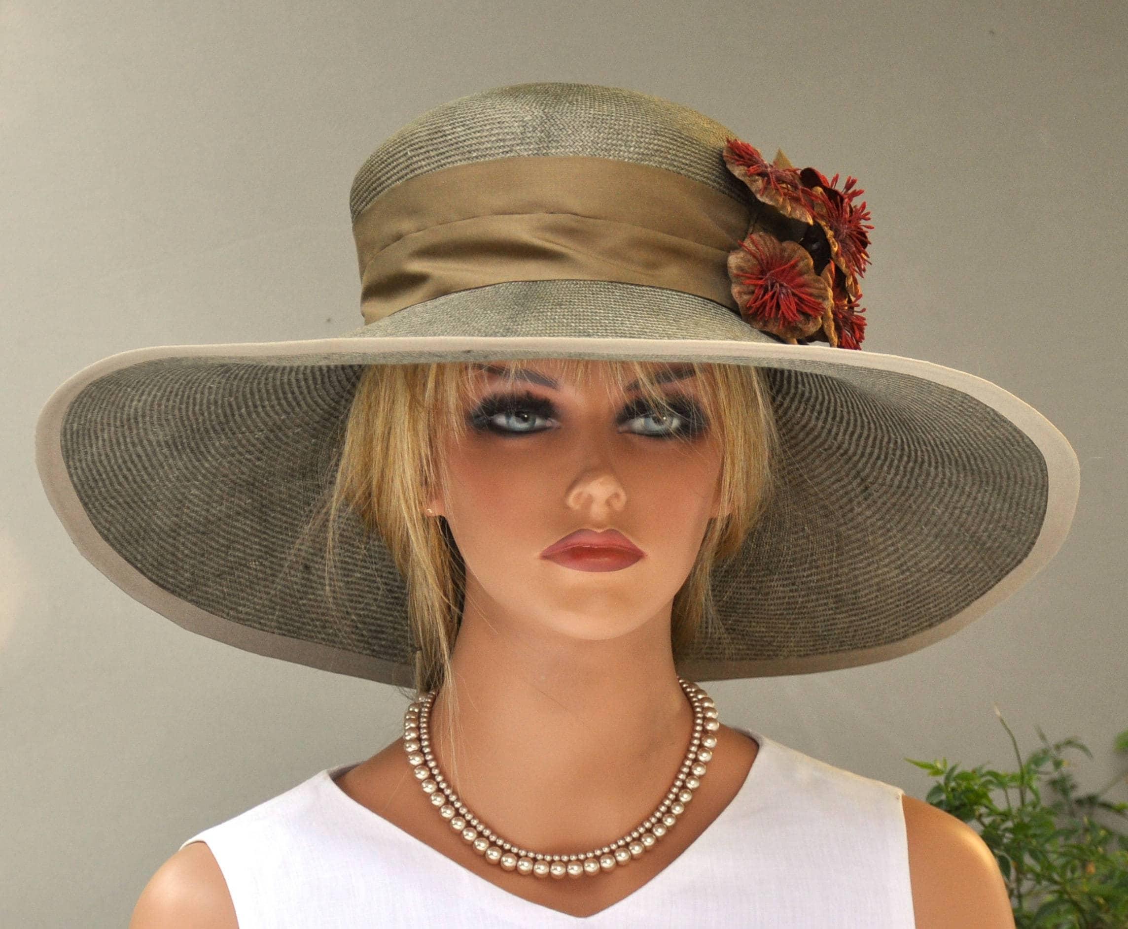 Wedding Hat, Kentucky Derby Hat, Church Hat, Taupe Hat