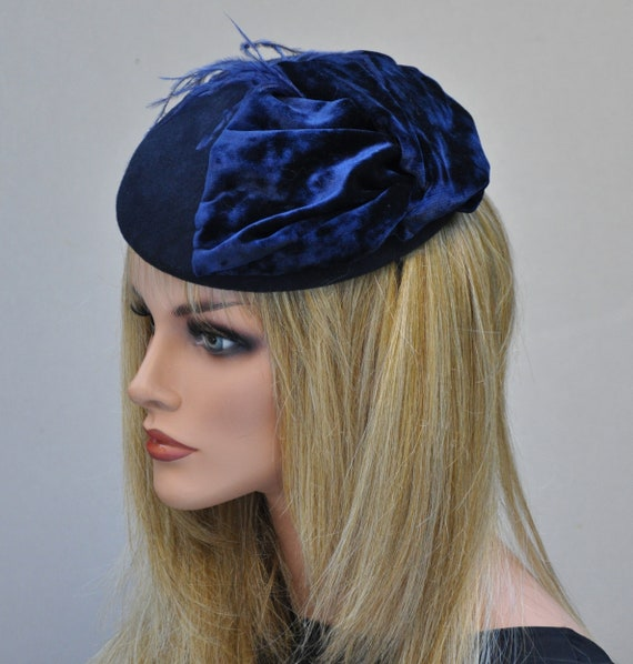 Ladies Navy Hat, Navy Winter Fascinator Hat, Navy Cocktail Hat, Women's Formal Hat, Navy Pillbox Hat, Dressy Hat