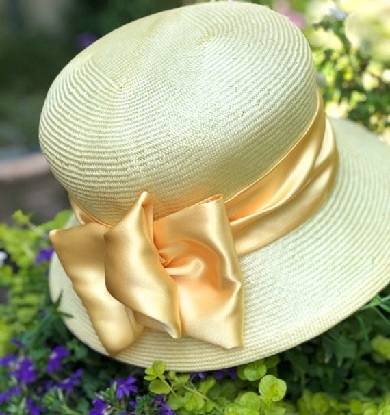Wedding Hat, Derby Hat, formal Yellow Cloche, Downton Abbey Hat, Miss Fisher Hat, Ladies Tea Party Hat, Garden Party Hat