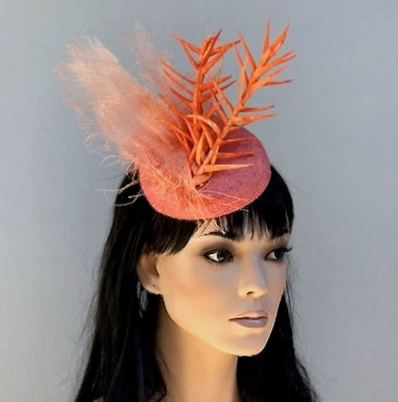 Kentucky Derby Hat, Women's Fascinator Hat, Royal Ascot Hat, Derby Fascinator Hat, Orange Fascinator, Formal Orange Hat, Cocktail Hat