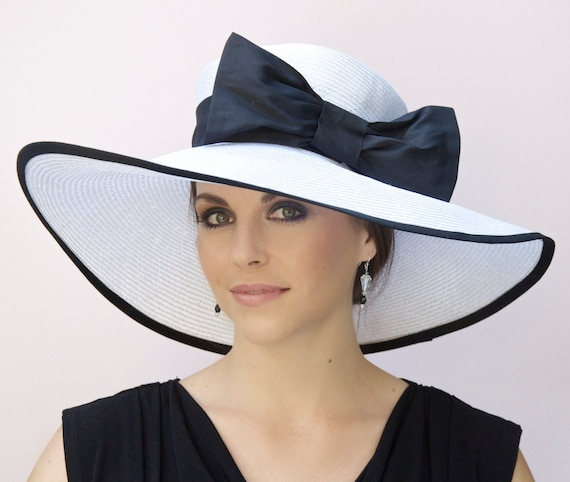 Wedding Hat, Black and White Hat, Wide Brim Hat, Derby Hat, Ascot Hat, Formal Hat, Church Hat, Large Hat, Big hat