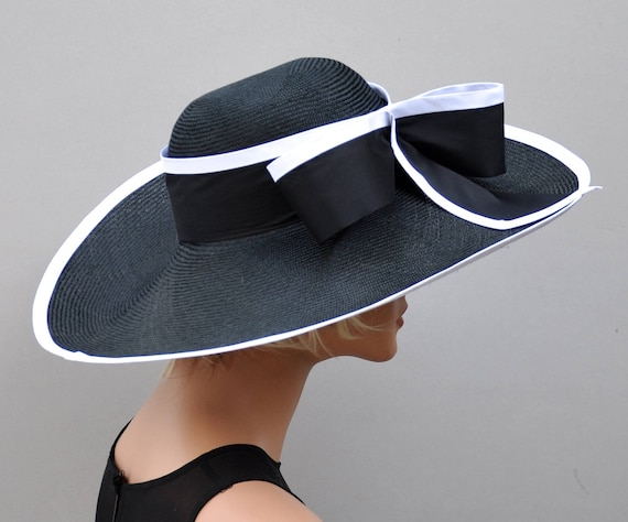 Kentucky Derby Hat, Wedding Hat, Derby Hat, Ascot Hat, Black and White hat, Occasion Hat