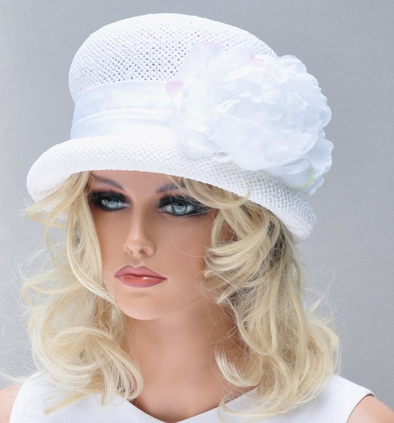 Ladies White Hat, Wedding Hat, White Cloche, Women's White Straw Hat, Tea Party Hat, Garden Party Hat, Dress Hat, Formal Hat, Vintage Hat