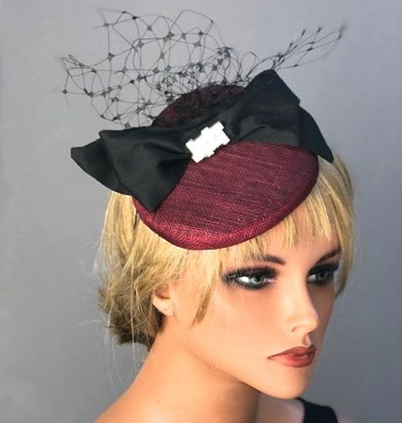 Burgundy Fascinator, Wedding Hat, Wedding Fascinator, Ladies Wine Hat, Formal Burgundy Hat, Women's Formal Hat, Cocktail Hat, Occasion hat
