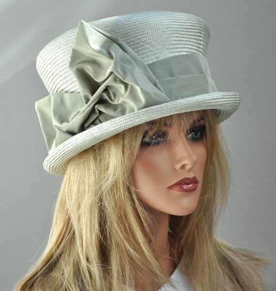 Ladies Formal Hat, Pale Sage Mad Hatter, Dressy Hat, Special Occasion Hat, Church Hat