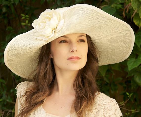 Derby Hat, Wedding Hat, Ascot Hat, Garden Party Hat, Wide Brim Cream Hat. Tea Party Hat, Special Occasion Hat, Formal Hat