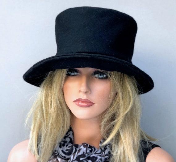 Black Bucket Hat, Women's Black Winter Hat, Boho H