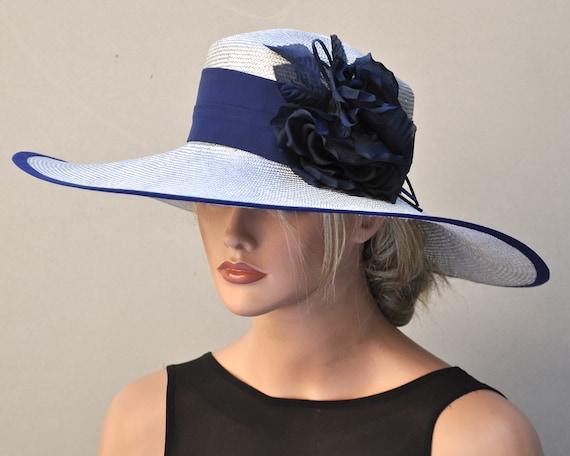 Kentucky Derby Hat, Wedding Hat, Ascot Hat, Derby Hat, Formal Hat, Dressy Hat, Elegant Hat, Gray Hat, Navy Hat, Occasion Hat