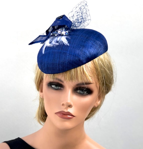 Ladies Navy Hat, Women's Fascinator Hat, Royal Blue Hat, Wedding Hat, Kentucky Derby Hat, Elegant Hat, Formal Navy Hat, Navy Fascinator hat