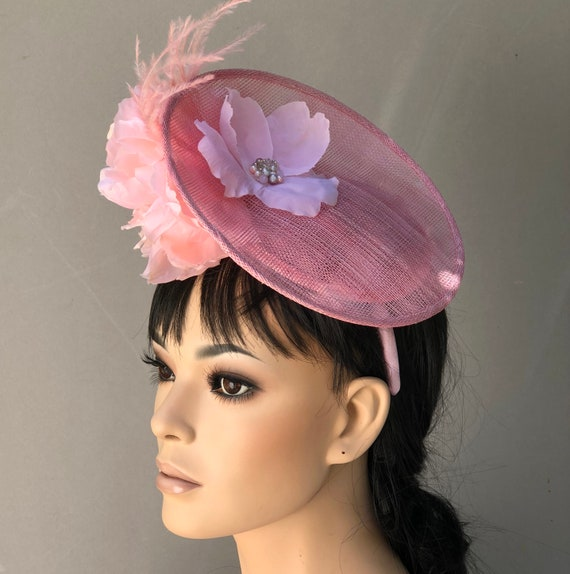Women's Pink Hat, Wedding Hat, Kate Middleton Hat, Women's Fascinator Hat, Derby Hat, Formal Hat, Saucer Hat, Dressy Hat,