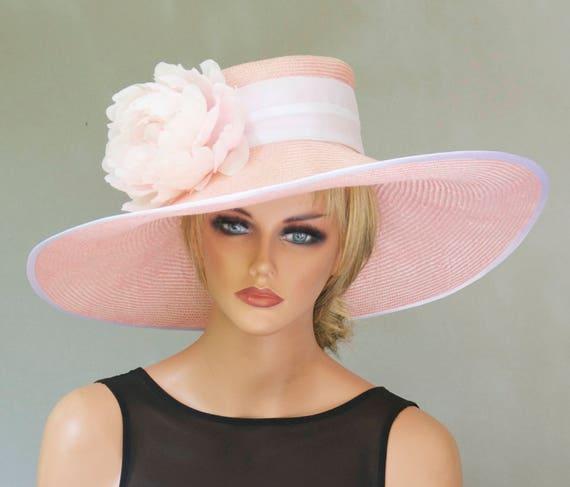 Wedding Hat, Kentucky Derby hat, Formal hat, Wide Brim Hat, Ladies Pink Hat, Women's Pink Hat, Royal Ascot Hat, Garden Party Hat