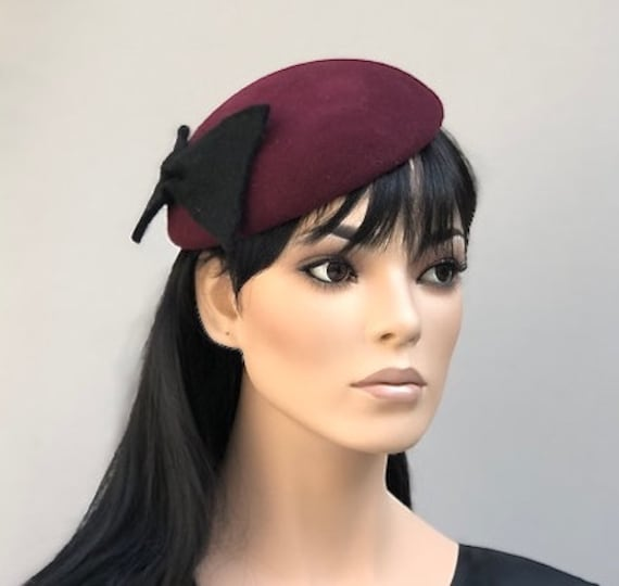 Ladies Burgundy Wine Winter Hat, Kate Middleton Hat, Women's Burgundy Wool Felt Hat, Burgundy Winter Fascinator, Meghan Markle Hat