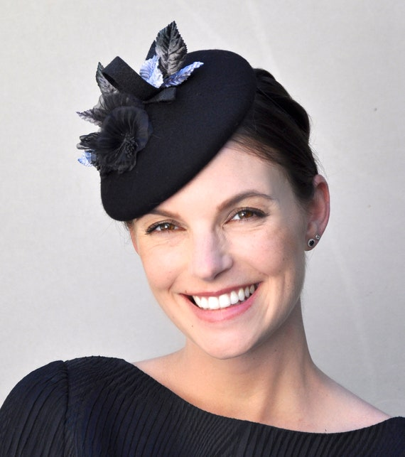 Black Winter Fascinator, Black Fascinator, Ladies Black Hat, Women's Black Hat, Formal Hat, Fascinator Hat, Funeral Hat