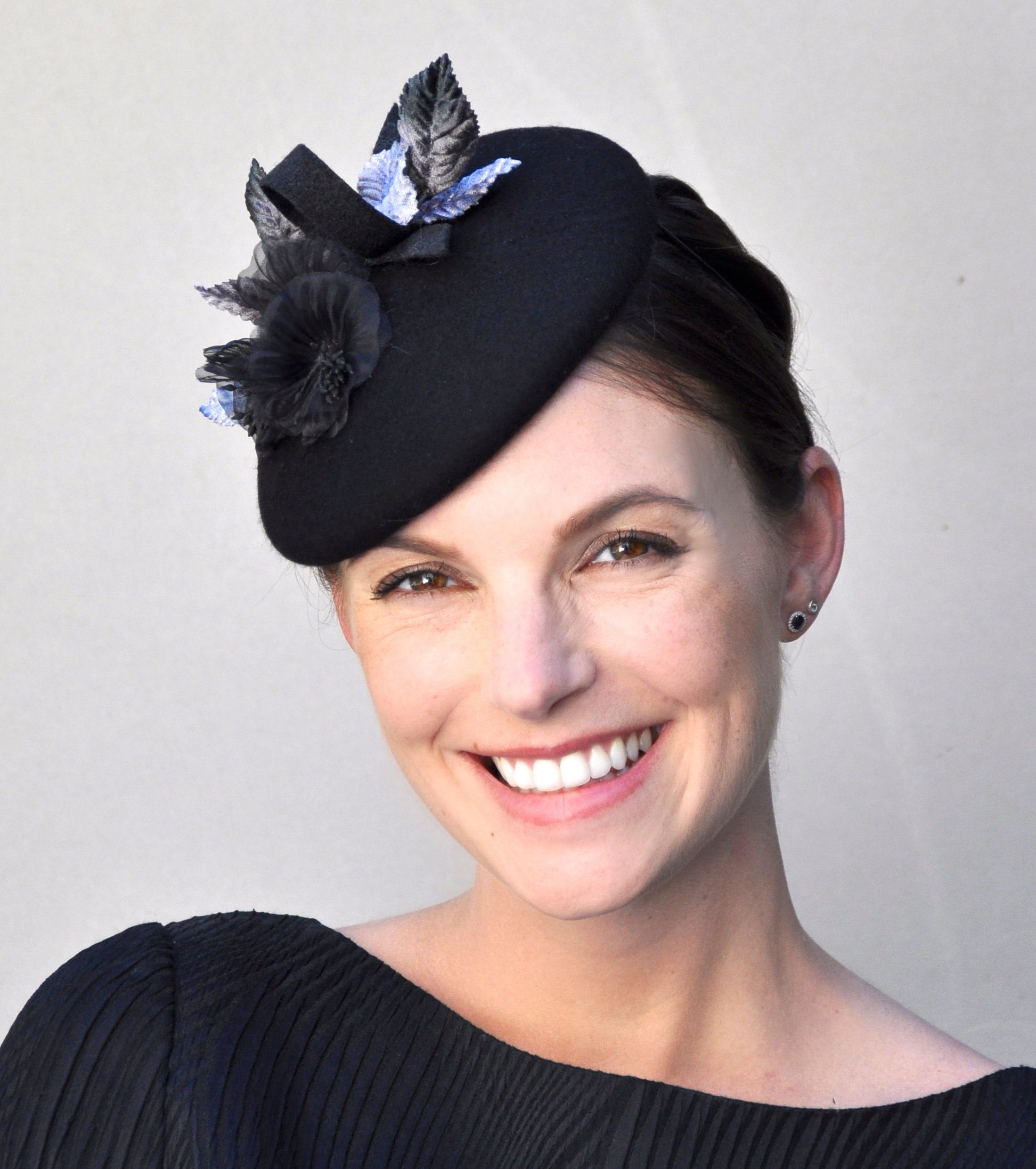 Black Winter Fascinator Black Fascinator Ladies Black Hat  8e972bbadaf