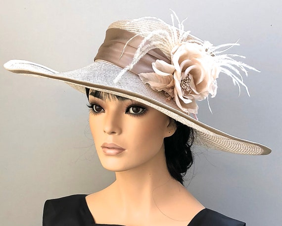 Kentucky Derby Hat, Wedding Hat, Ladies Formal Hat, Women's Taupe Hat, Royal Ascot Hat, Special Occasion Hat