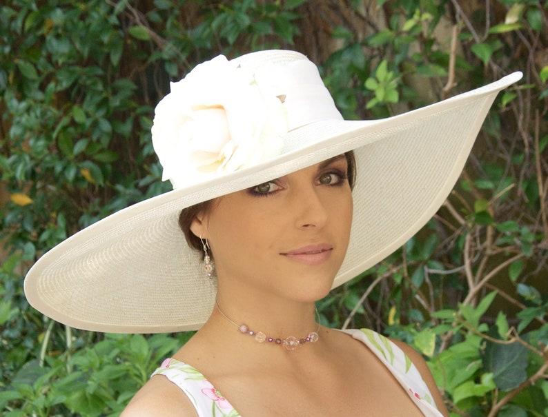 Kentucky Derby Hat Wedding HatChurch Hat Formal Straw Hat  48fccae2329b