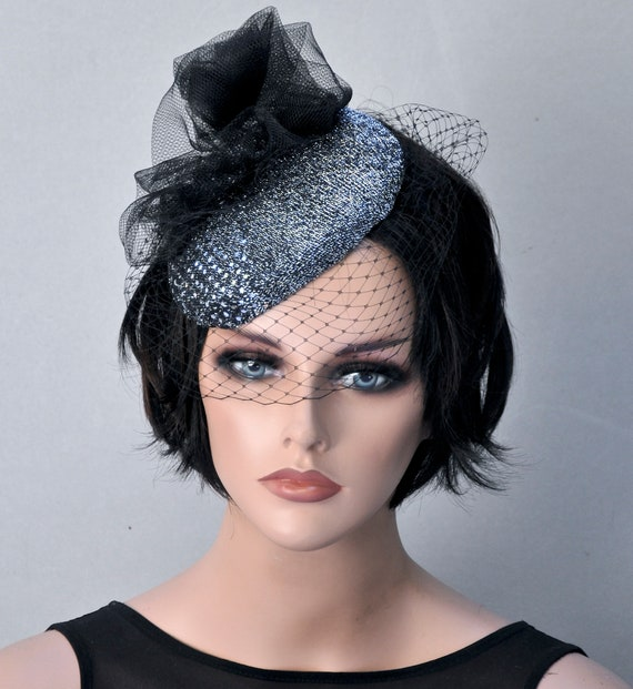 Black Fascinator Hat, Silver Fascinator, Formal Hat, Cocktail Hat, Dressy Hat