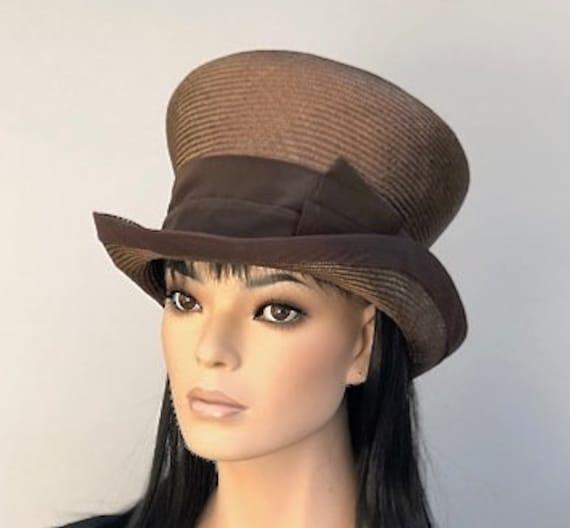 Women's Brown Top Hat, Ladies Brown Hat, Mad Hatter, Men's Steampunk Hat, Wedding Hat, Derby Hat, Tea Party Hat, Ascot Hat, Formal Hat
