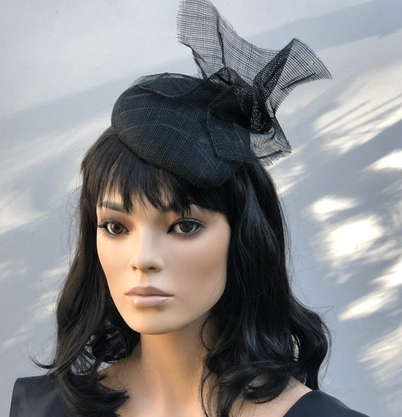 Women's Black Formal Hat, Ladies Black Dressy Hat, Funeral Hat, Black Cocktail Hat