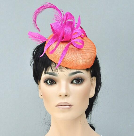 Kentucky Derby Hat, Women's Fascinator Hat, Pink & Orange Fascinator Hat, Ladies Formal Summer Hat, Kate Middleton Hat, Royal Ascot Hat