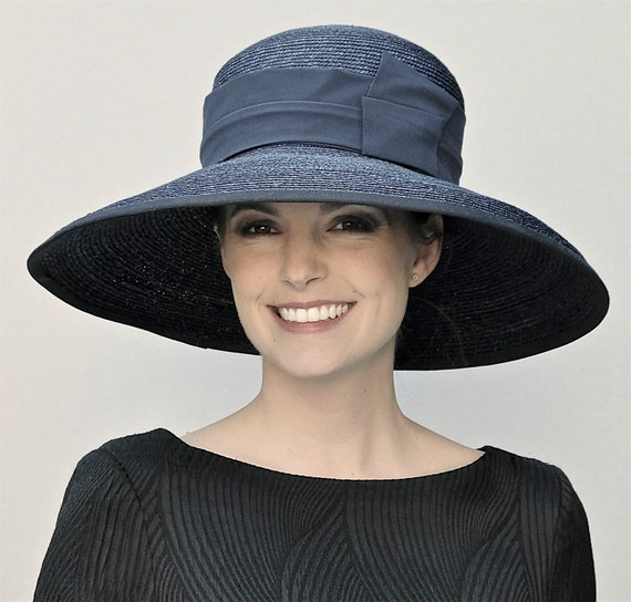Women's Black Hat, Wide Brim Hat. Audrey Hepburn Hat, Ladies Black Hat, Derby Hat, Church Hat, Funeral Hat