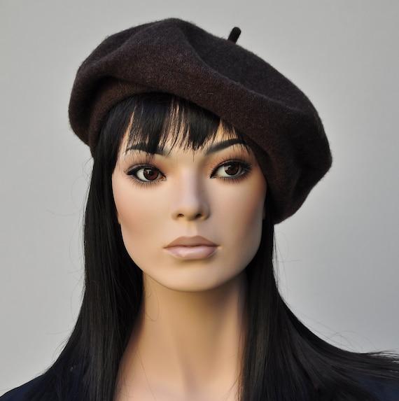 Wool Beret. Dark Brown Beret, French Beret, Winter Beret, Ladies Brown Hat