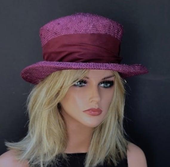 Mad Hatter Top Hat, Tea Party Hat, Ladies Fuchsia Burgundy Hat, Kentucky Derby Hat, Garden Party Hat, Women's formal hat