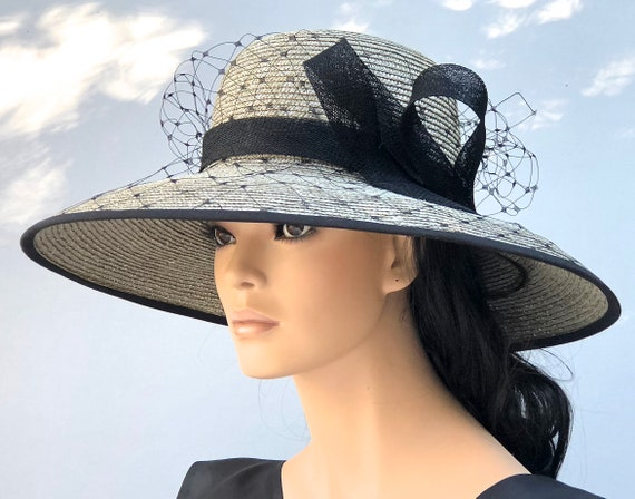 Kentucky Derby Hat Wedding Hat Audrey Hepburn Hat Ladies Formal Hat Women's Taupe Hat Church Hat Special Occasion Hat Ascot hat