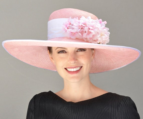 Derby Hat, Ascot Hat, Wedding Hat. Ladies Pink Hat, Wide Brim Hat, Occasion Hat, Formal Hat
