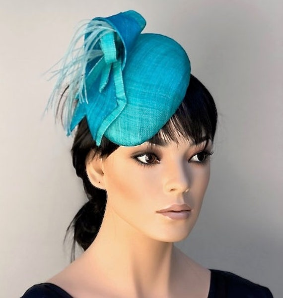 Turquoise Fascinator Hat, Wedding Fascinator Hat, Cocktail Hat, Pillbox Hat,Ladies Aqua Blue Hat, Women's formal hat,